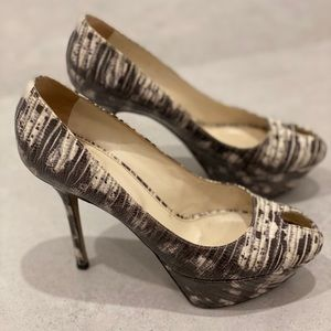 Sergio Rossi Size 38 Peep Toe Patent Snake Pumps